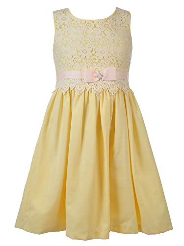 Bonnie Jean Big Girls 7-16 Fit-and-Flare Yellow Lace Linen Party Dress, 12