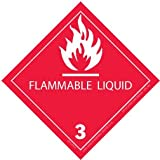Vinyl - Flammable Liquid 3 Label, 4'' X 4'', hml-506, 500 Per Roll