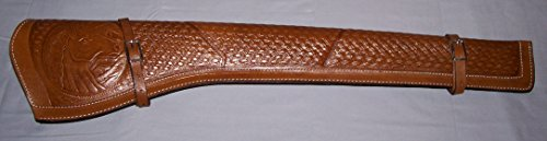 Scabbard Rifle Saddle (Scabbard New (BROWN Color) Genuine Leather Rifle Gun Saddle Scabbard Holster Hand Tooled)