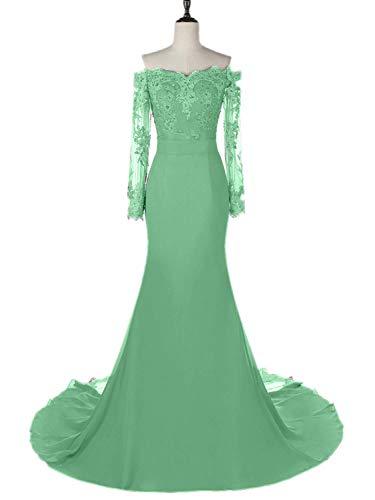 WiWiBridal Women's Lace Off Shoulder Mermaid Long Bridesmaid Prom Evening Dress Mint