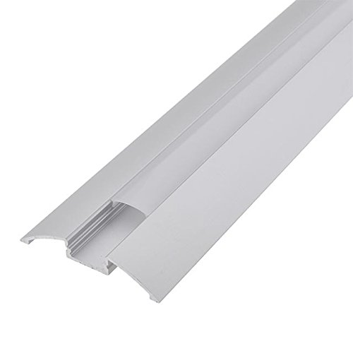 LEDwholesalers Aluminum Channel System with Cover, End Caps, and Mounting Clips, for LED Strip Installations, Smooth Transition, Pack of 5x 1m Segments, 1906-ST (Strip Floor Clip)