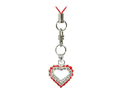 Cellet Phone Strap - Heart with Red and Clear Stones