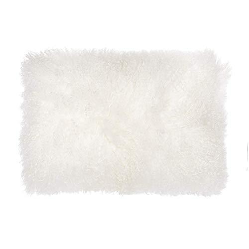 February Snow Deluxe Home Decorative Rectangular Soft Plush 100% Real Mongolian (Tibetan) Lamb Wool Pillow/Cushion Cover/Case (White, 12x20inch)