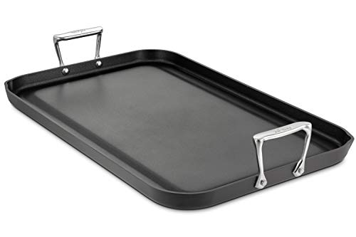 All-Clad 3020 Hard Anodized Aluminum Scratch Resistant Nonstick Anti-Warp Base Double Burner Grande 13-Inch by 20-Inch Griddle Specialty Cookware, 20-Inch, Black Anodized Double Burner Grill Pan