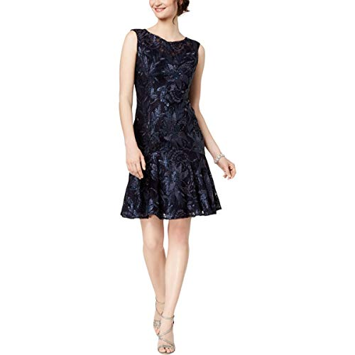 Adrianna Papell Women's Sequin Floral Lace Short Dress with Trumpet Skirt, Midnight, 8 ()
