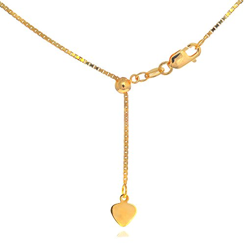 "JewelStop 14k Yellow Gold 0.85 mm Extendable & Adjustable Box Chain, Lobster Claw Clasp - 30"", 4.3gr."