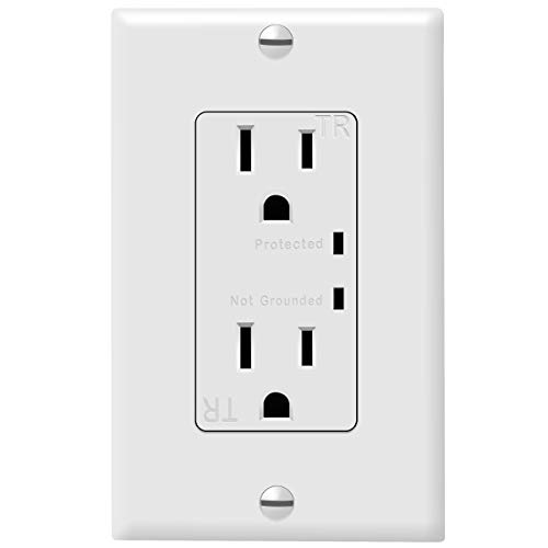 TOPGREENER Surge Protector Receptacle with Grounding Indicator, Child Safe, Tamper-Resistant, Self-Grounding, 900 Joules, 2-Pole, 15A 125V, UL Listed, TGTRSS215R