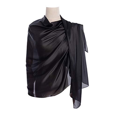 New Silk Scarf Shawl (Cyzlann Women's Scarves 100% Silk Long Lightweight Scarfs for Women (black))