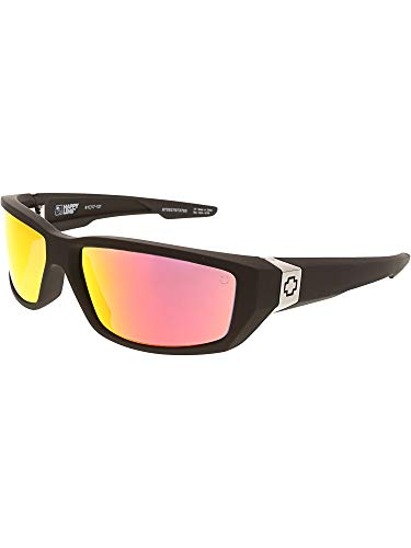 SPY Optic Dirty Mo Sunglasses for Men and for Women | Polarized Styles Available | Shatter Resistant Lenses | Patented Happy Lens Tech (Matte Black - Happy Rose w/Red Spectra Mirror)