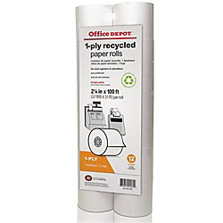 (Office Depot Calculator Print Rolls, 2 1/4in. x 100ft, 70% Recycled, White, Pack Of 12, 553995)