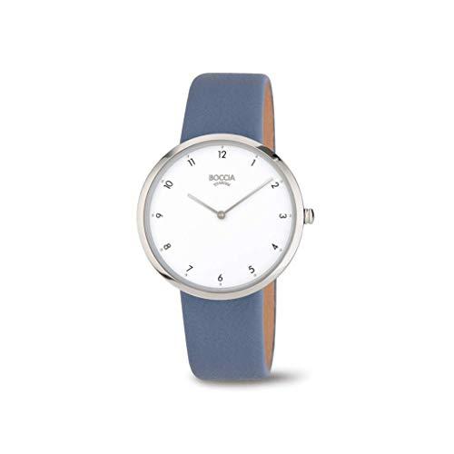 Boccia Damen Analoger Quarz Uhr mit Echtes Leder Armband 3309-07