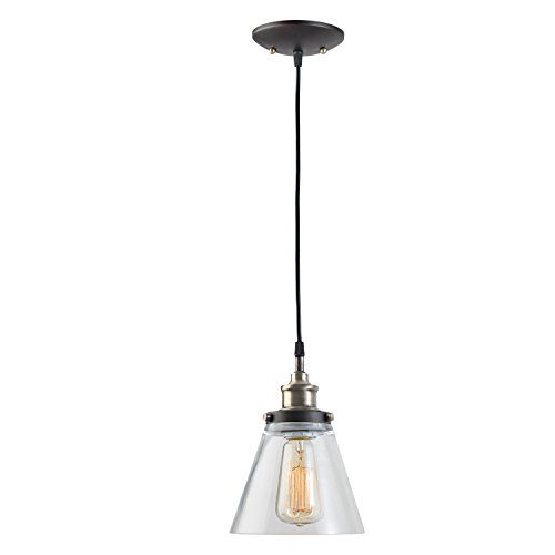 Brass 1 Bulb (Globe Electric 1-Light Vintage Edison Hanging Pendant, Antique Brass & Bronze Finish, Glass Shade, 64750)