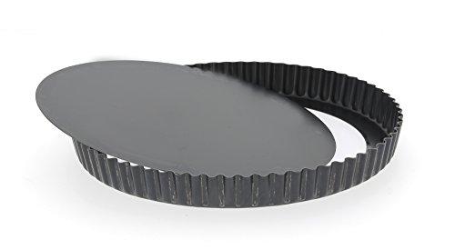 De Buyer 5357.32 Tourtière Haute Cannelée à Fond Amovible – Tôle d'Acier Bleue – Diamètre 32 cm