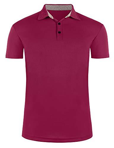 poriff Men's Short Sleeve Moisture Wicking Performance Golf Polo Shirt Wine Red S