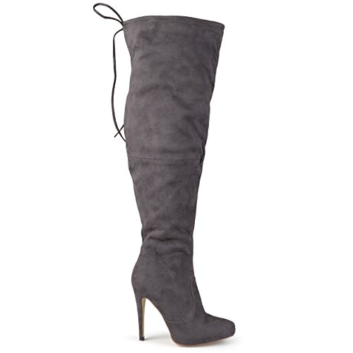 Brinley Co Women's Trick Over The Knee Boot, Grey, 9 Wide Shaft US