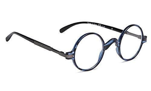 (Vintage Round Reading Glasses Professor Readers (Blue Stripe, 1.00))
