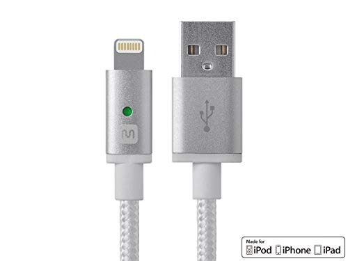 Monoprice Apple MFi Certified Lightning to USB Charge & Sync Cable - 6 Feet - White Compatible with iPhone X 8 8 Plus 7 7 Plus 6s 6 SE 5s, iPad, Pro, Air 2 - Luxe Series