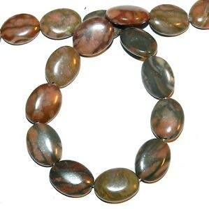 NG2123 Canyon Marble 20mm Flat Puffed Oval Gemstone Beads 15