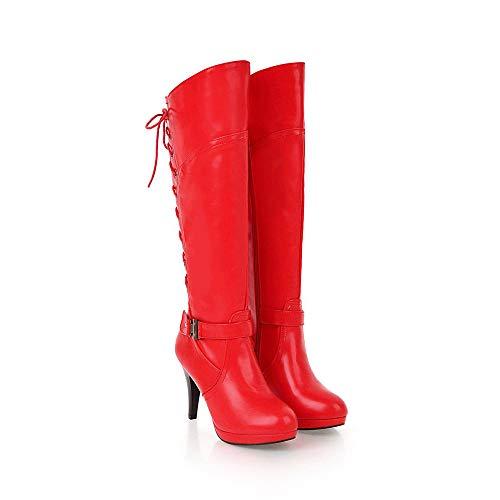 À Motard Chaussures Frenchenal Bottines Rouge Pu Talons De Cuir Dentelle Boucle Femme Hauts Hautes Mode Pierres Décoration Bottes Cw6qA