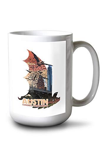 Austin, Texas - Bats and Congress Avenue Bridge - Contour 95584 (15oz White Ceramic Mug)