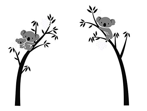 LUCKKYY Three Koalas Tree Branches Wall Decal Wall Sticker Baby Nursery Decor Kids Room Decoration (Black)
