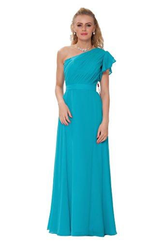SEXYHER Gorgeous Encuadre de cuerpo entero Uno damas de honor del hombro vestido de noche formal - EDJ1446 Turquesa