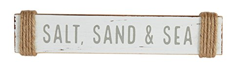 Mud Pie Painted Wood Sentiment Stick Rope Accents Salt, Sand and Sea,