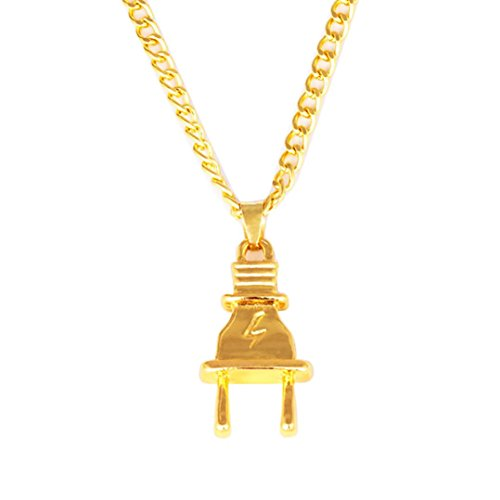 (Fashion Necklace.WYTong Hip Hop Style Alloy Necklace Chain Power Plug Pendant Jewelry for Women Men (A))