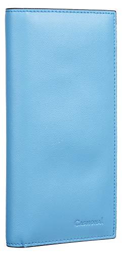 (Casmonal Genuine Leather Checkbook Cover For Men & Women Checkbook Holder Wallet RFID Blocking(blue sky))
