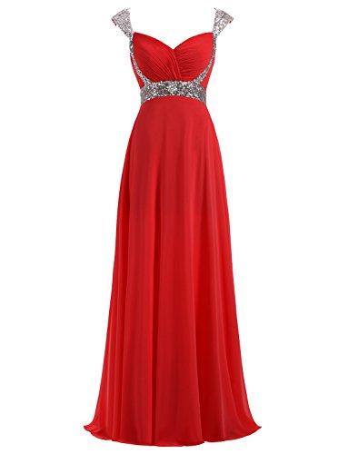 Rot Lange Brautjungfernkleider Abendkleid Erosebridal Formal Chiffon 614XwY8