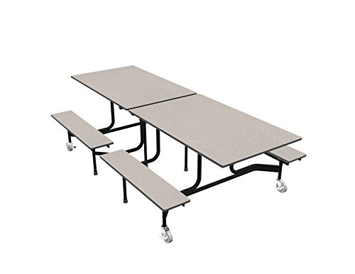 Palmer Hamilton 59TV Easy Folding Mobile Bench Table, 27x30x96, Gray/Black, Cafeteria, School Breakroom ()