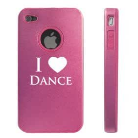 Apple iPhone 4 4S Pink D5543 Aluminum & Silicone Case Cover I Love Dance