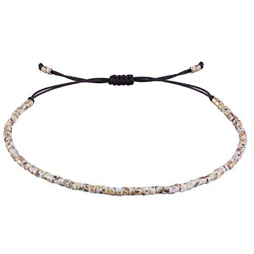 KELITCH Seed Beaded Friendship Bracelets Thin Rope Bracelets Women Handmade Jewelry (Colorful) Colorful Beaded Friendship Bracelets