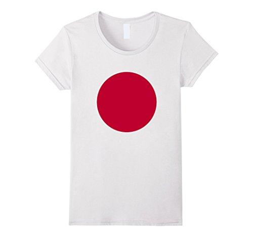 - Womens Japanese Flag T-Shirt Japan Rising Sun Nisshoki Hinomaru Tee Large White