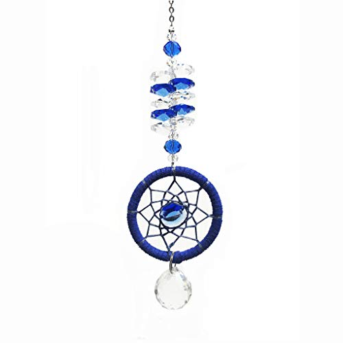 WaltzampF Crystal Sun Catcher Plus Dream Catcher for Window Fengshui Rainbow Pendant with Chandelier Ball Prisms