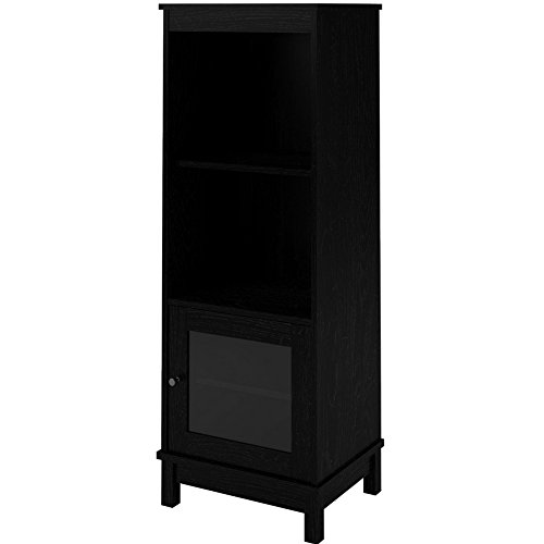 (EFD Multi Media Cabinet with 5 Shelves and Glass Door Adjustable Black Wooden Storage Home Tall Modern Audio-Video Low Profile Media Console Cabinet eBook by Easy&FunDeals)