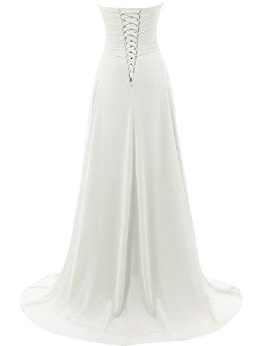 JAEDEN Vestidos de boda sin tirantes de la playa Vestido simple de la gasa del vestido de la novia Marfil