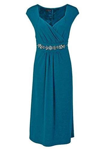 Vestido de mujer para vestido de noche con perlas, color azul petróleo 56: Amazon.es: Ropa y accesorios