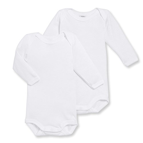 Petit Bateau Long Sleeve Bodysuit - Petit Bateau Unisex Baby 2 Pack Bodysuits  - White - 12 Months