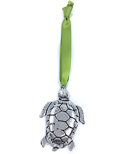 Pewter Turtle - Basic Spirit Sea Turtle Beach Christmas Ornament Lead Free Pewter Gift Box Handmade