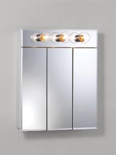 Jensen 755427 Ashland Lighted Frameless Medicine Cabinet with Three Bulbs