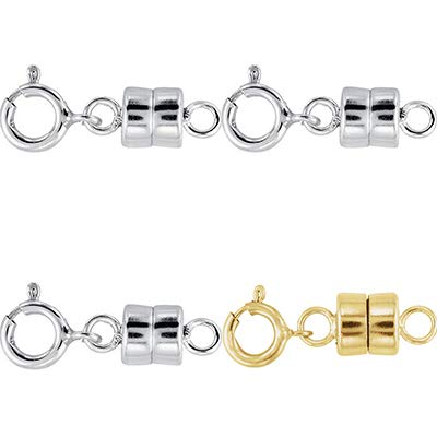 3 - Each New Solid .925 Sterling Silver and 1-14K Yellow Gold Filled Round Magnetic Clasps with Spring Rings for Necklaces, Bracelets, and Anklets - Jewelry By Sweetpea