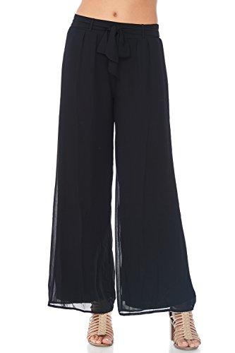 A+D Womens Casual Chiffon Wide Leg Palazzo Long Pant (Black, (Chiffon Palazzo Pants)