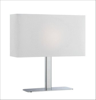- Lite Source LS-21797C/WHT One Light Table Lamp, Chrome Finish with White Fabric Shade