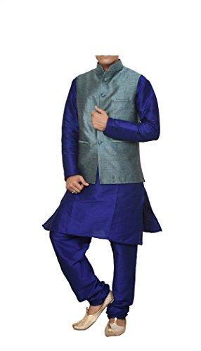 (Mag Men's Royal Blue Matching silk Kurta Churidhar With Turquoise Waistcoat (RG-10640B-46))