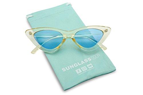 Women's Small Narrow Retro Color Transparent Designer Lolita Cat-Eye Sun Glasses (Yellow Frame | Blue)