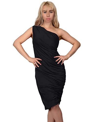 HDE Women's One Shoulder Midi Cocktail Dress Ruched Side (Black, -