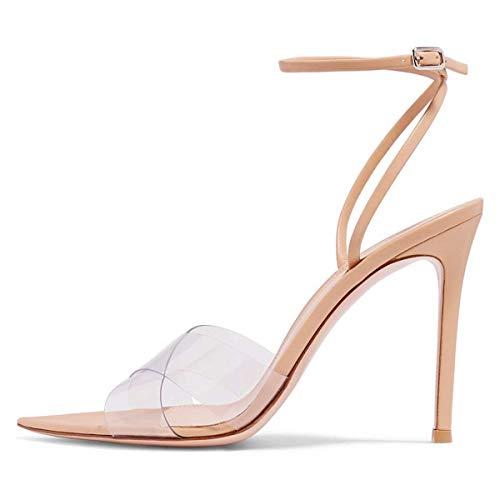FSJ Women Clear Peep Toe Cross PVC Band Stiletto High Heel Ankle Strap Slingback Dress Sandals Size 8 Nude ()