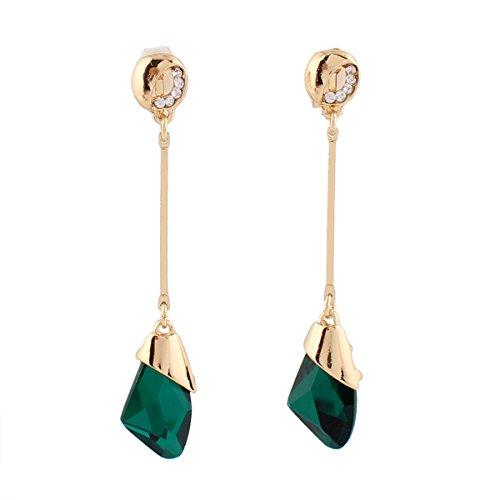 Grace Jun Women's Austria Crystal Art Deco Tear Drop Earrings Fashion Bijouterie (Green clip-on)