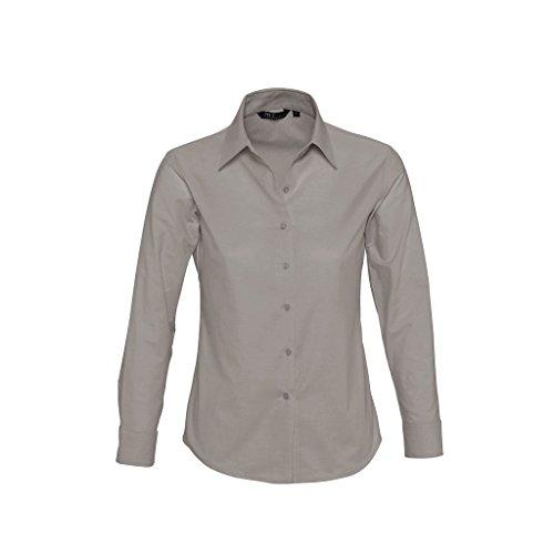 "SOLS - Camisa de trabajo de manga larga modelo ""Embassy"" para mujer Plata"